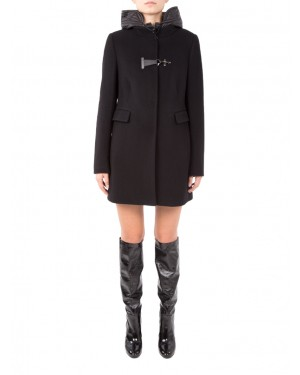 Fay - Cappotto toggle in lana nero double front