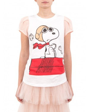 Aniye By - T-shirt SNOOPY bianca e rosa con spalle arricciate