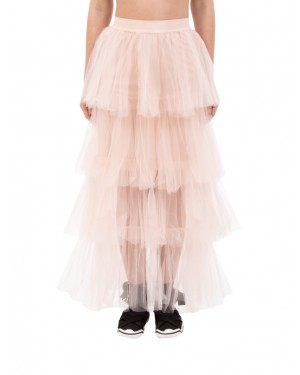 Aniye By - Gonna rosa cipria lunga in tulle a balze