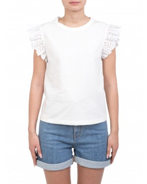 Philosophy - T-shirt in cotone bianca decorata con rouches in pizzo san gallo