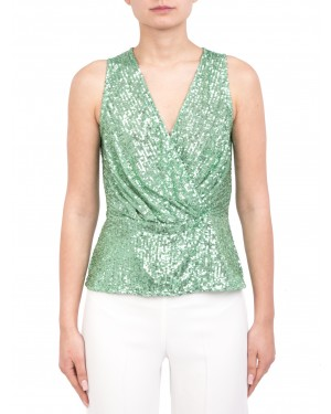 h couture - Top smanicato in full paillettes verde mente