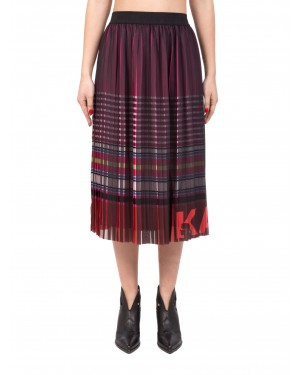 Karl Lagerfeld - Gonna midi multicolore STRIPE PRINT PLEATED SKIRT