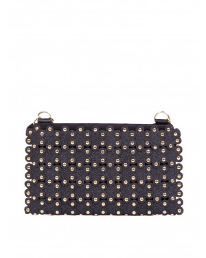 Red Valentino - Pochette RED(V) Flower Puzzle in pelle glitterata nero