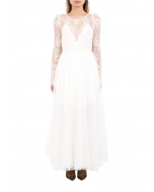 Aniye By - Abito lungo LACE WEDDING bianco in tulle e pizzo ricamato