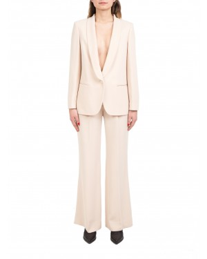 Seventy - Tailleur beige con giacca smoking e pantaloni in cady crepe stretch