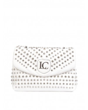 La Carrie - Borsa bianca MIRROR BOWLING in ecopelle trapuntata con borchie e strass all over