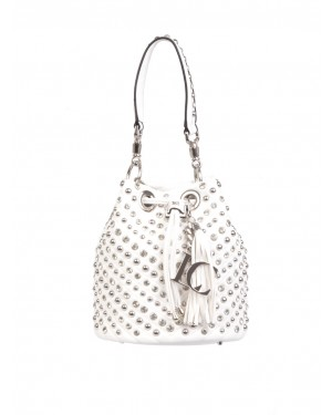 La Carrie - Borsa secchiello bianca MIRROR BUCKET con borchie e strass allover