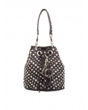 Borsa secchiello nera MIRROR BUCKET con borchie e strass allover