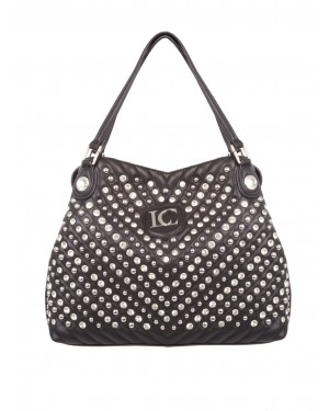 La Carrie - Borsa shopper nera MIRROR SOFT con borchie silver e strass allover