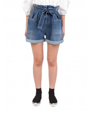 Red Valentino - Shorts in denim a vita alta con cintura