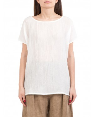 Neirami - T-shirt bianca over fit in misto viscosa