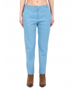 Pinko - Pantaloni a sigaretta in lino light blue
