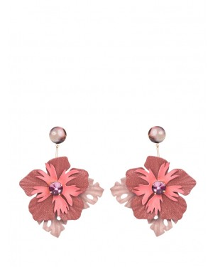 No.Nu - Orecchini con fiore in pelle sfumature di rosa | Donnastore.it