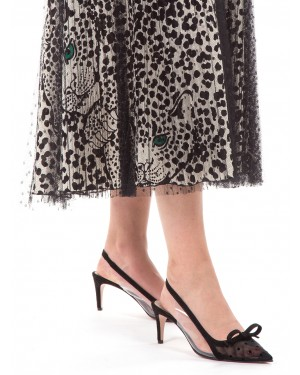Red Valentino - Gonna plissé in tulle point d'esprit con sottogonna stampata a fantasia Leo Panther