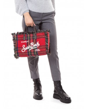 MC2 Saint Barth - Borsa a mano in tartan red con profili sfrangiati