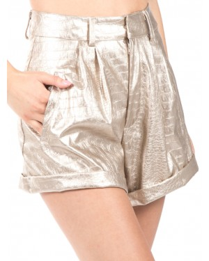 Aniye By - Shorts oro in ecopelle stampa cocco