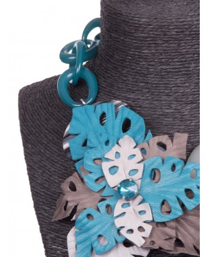 No.Nu - Collana con decorazione floreale in pelle e strass | Donnastore.it
